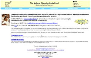 Primary view of object titled 'National Education Goals Panel'.