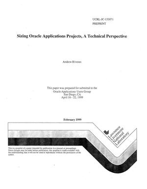 Primary view of object titled 'Sizing oracle applications projects: a technical perspective'.