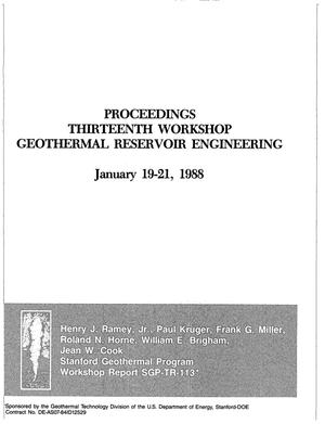 Primary view of object titled 'Thirteenth workshop on geothermal reservoir engineering: Proceedings'.