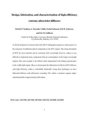 Primary view of object titled 'Design, fabrication, and characterization of high-efficiency extreme ultraviolet diffusers'.