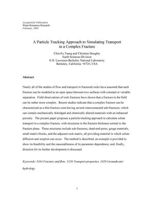 Primary view of object titled 'A Particle Tracking Approach to Simulating Transport in a Complex Fracture'.