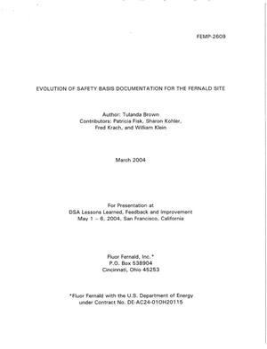 Primary view of object titled 'Evolution of Safety Basis Documentation for the Fernald Site'.