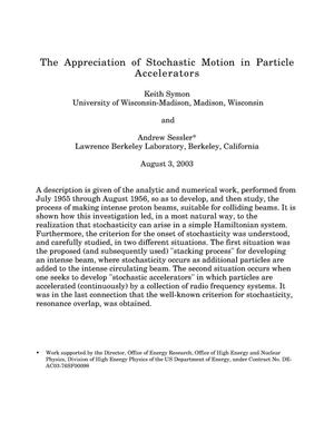 Primary view of object titled 'The appreciation of stochastic motion in particle accelerators'.