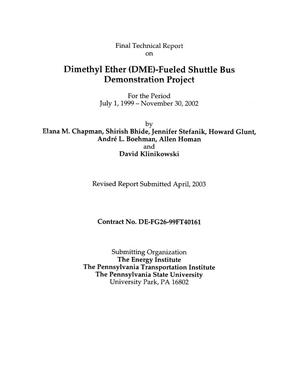 Primary view of object titled 'DIMETHYL ETHER (DME)-FUELED SHUTTLE BUS DEMONSTRATION PROJECT'.