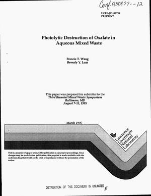 Primary view of object titled 'Photolytic destruction of oxalate in aqueous mixed waste'.