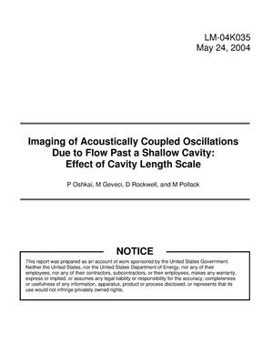Primary view of object titled 'Imaging of Acoustically Coupled Oscillations Due to Flow Past a Shallow Cavity: Effect of Cavity Length Scale'.
