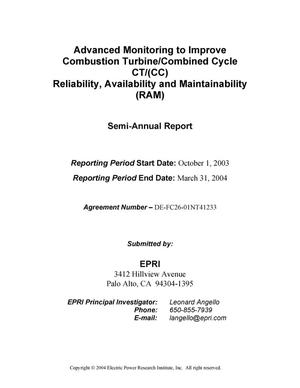 Primary view of object titled 'ADVANCED MONITORING TO IMPROVE COMBUSTION TURBINE/COMBINED CYCLE CT/(CC) RELIABILITY, AVAILABILITY AND MAINTAINABILITY (RAM)'.