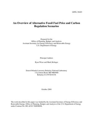 Primary view of object titled 'An overview of alternative fossil fuel price and carbon regulation scenarios'.