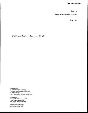 Primary view of object titled 'Preclosure Safety Analysis Guide'.