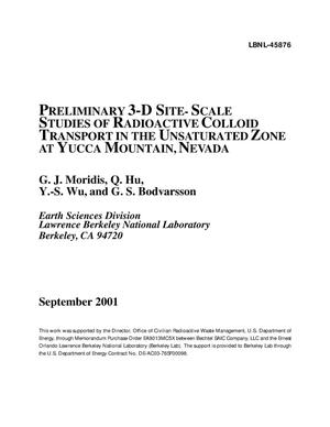 Primary view of object titled 'Preliminary 3-D site-scale studies of radioactive colloid transortin the unsaturated zone at Yucca Mountain, Nevada'.