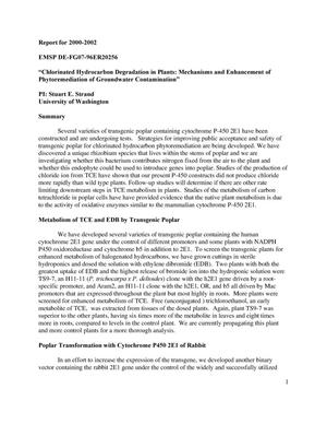 Primary view of object titled 'Chlorinated Hydrocarbon Degradation in Plants: Mechanisms and Enhancement of Phytoremediation of Groundwater Contamination'.