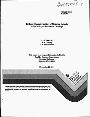 Primary view of object titled 'Failure characterization of nodular defects in multi-layer dielectric coatings'.