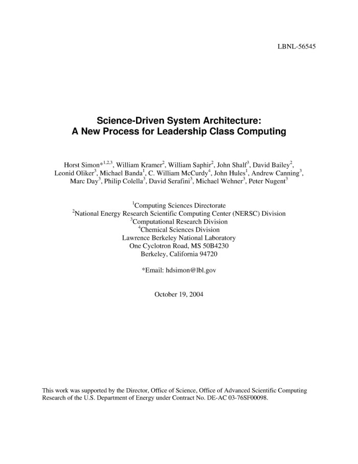 Science-driven system architecture: A new process for