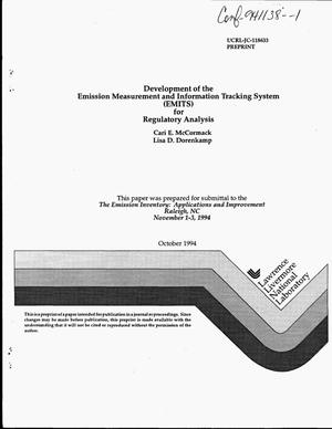 Primary view of object titled 'Development of the Emission Measurement and Information Tracking System (EMITS) for regulatory analysis'.