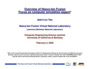 Primary view of object titled 'Overview of heavy-ion fusion focus on computer simulation aspect'.