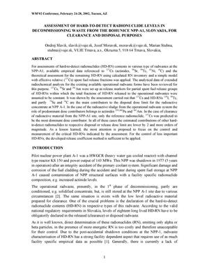 Primary view of object titled 'Assessment of Hard-to-Detect Radionuclide Levels in Decommissioning Waste From the Bohunice NPP-A1, Slovakia, for Clearance and Disposal Purposes'.