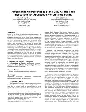 Primary view of object titled 'Performance characteristics of the Cray X1 and their implicationsfor application performance tuning'.