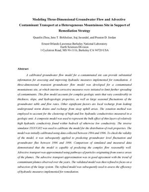 Primary view of object titled 'Modeling Three-Dimensional Groundwater Flow and Advective Contaminant Transport at a Heterogeneous Mountainous Site in Support of Remediation Strategy'.