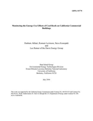 Primary view of object titled 'Monitoring the Energy-Use Effects of Cool Roofs on California Commercial Buildings'.