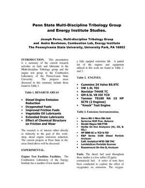 Primary view of object titled 'Penn State Multi-Discipline Tribology Group and Energy Institute Studies.'.