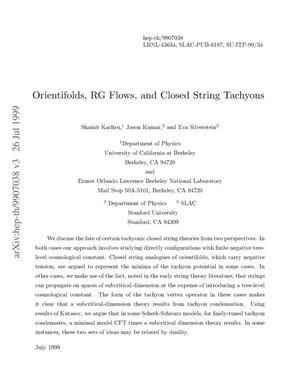 Primary view of object titled 'Orientifolds, RG flows, and closed string tachyons'.