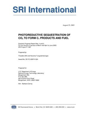 Primary view of object titled 'PHOTOREDUCTIVE SEQUESTRATION OF CO2 TO FORM C1 PRODUCTS AND FUEL'.