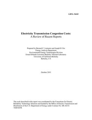 Primary view of object titled 'Electricity transmission congestion costs: A review of recent reports'.