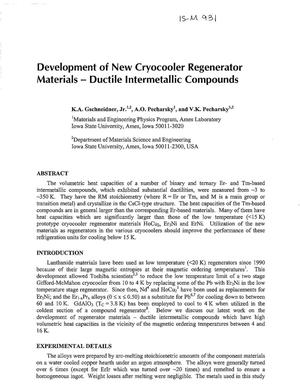 Primary view of object titled 'Development of New Cryocooler Regenerator Materials-Ductile Intermetallic Compounds'.