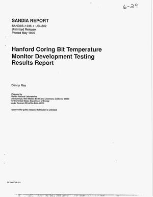 Primary view of object titled 'Hanford coring bit temperature monitor development testing results report'.
