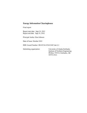 Primary view of object titled 'ENERGY INFORMATION CLEARINGHOUSE'.