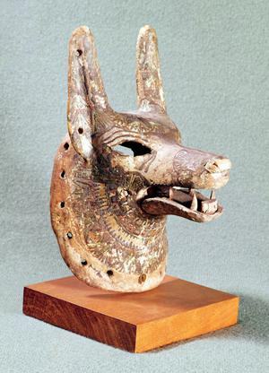Primary view of object titled 'Head of Anubis, with a hinged jaw, used as an oracle mask'.