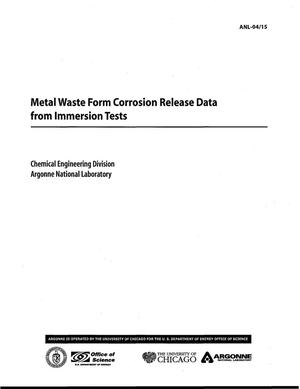 Primary view of object titled 'Metal waste form corrosion release data from immersion tests.'.
