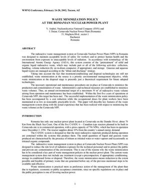Primary view of object titled 'Waste Minimization Policy at the Romanian Nuclear Power Plant'.