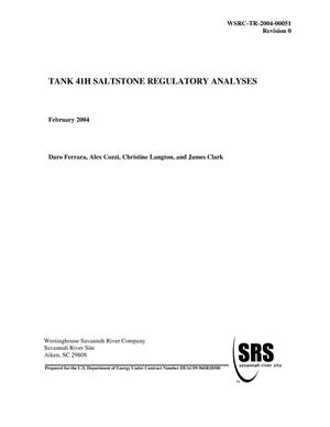 Primary view of object titled 'Tank 41H Saltstone Regulatory Analyses'.