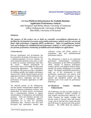 Primary view of object titled 'A Cross-Platform Infrastructure for Scalable Runtime Application Performance Analysis'.