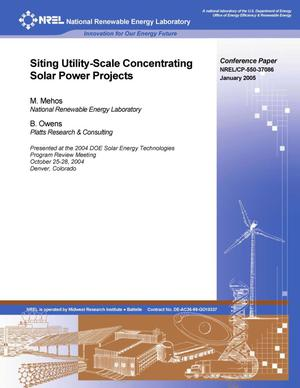 Primary view of object titled 'Siting Utility-Scale Concentrating Solar Power Projects'.