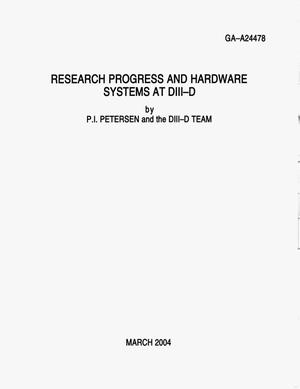 Primary view of object titled 'RESEARCH PROGRESS AND HARDWARE SYSTEMS AT DIII-D'.