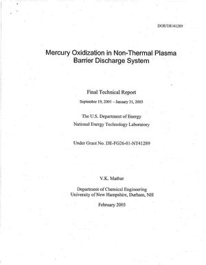 Primary view of object titled 'MERCURY OXIDIZATION IN NON-THERMAL PLASMA BARRIER DISCHARGE SYSTEM'.