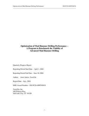 Primary view of object titled 'OPTIMIZATION OF MUD HAMMER DRILLING PERFORMANCE--A PROGRAM TO BENCHMARK THE VIABILITY OF ADVANCED MUD HAMMER DRILLING'.