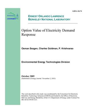 Primary view of object titled 'Option Value of Electricity Demand Response'.