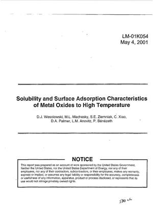 Primary view of object titled 'Solubility and Surface Adsorption Characteristics of Metal Oxides to High Temperature'.