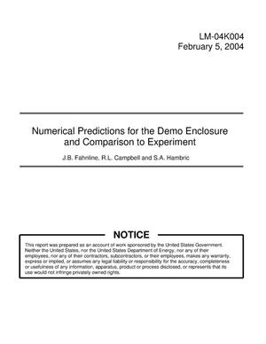 Primary view of object titled 'Numerical Predictions for the Demo Enclosure and Comparison to Experiment'.