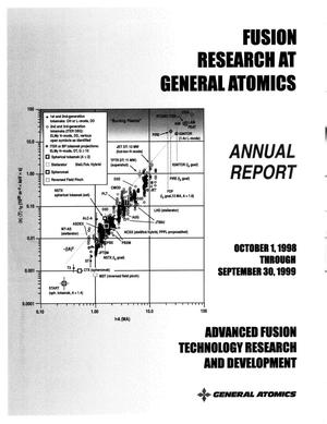 Primary view of object titled 'ADVANCED FUSION TECHNOLOGY RESEARCH AND DEVELOPMENT ANNUAL REPORT TO THE U.S. DEPARTMENT OF ENERGY OCTOBER 1, 1998 THROUGH SEPTEMBER 30, 1999'.