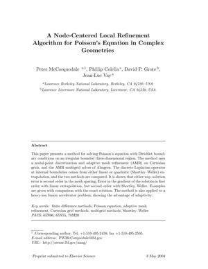 A node-centered local refinement algorithm for poisson's