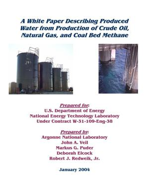 Primary view of object titled 'A white paper describing produced water from production of crude oil, natural gas, and coal bed methane.'.