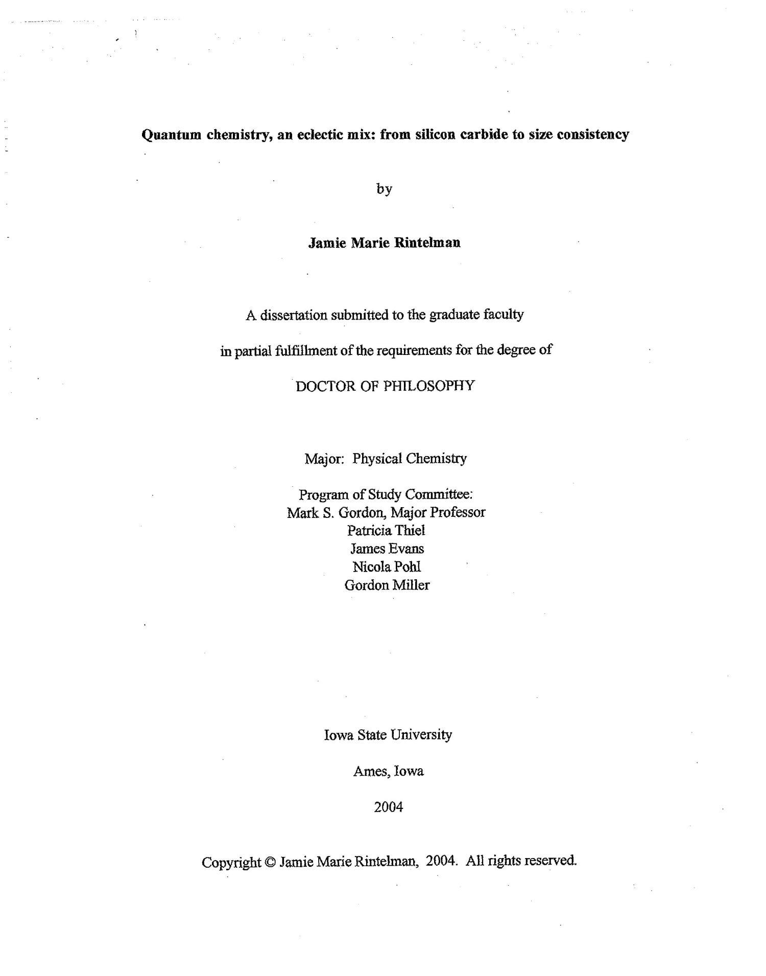 Chemistry phd quantum thesis