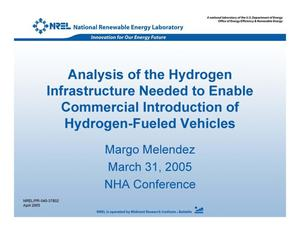 Primary view of object titled 'Analysis of the Hydrogen Infrastructure Needed to Enable Commercial Introduction of Hydrogen-Fueled Vehicles'.