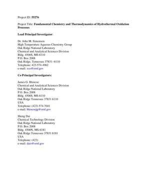 Primary view of object titled 'Fundamental Chemistry and Thermodynamics of Hydrothermal Oxidation Processes'.