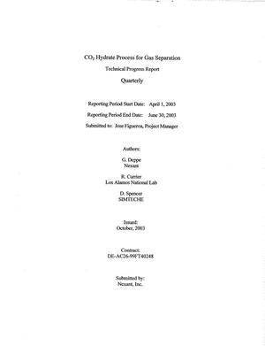 Primary view of object titled 'CO2 Hydrate Process for Gas Separation, Quarterly Report: April - June 2003'.