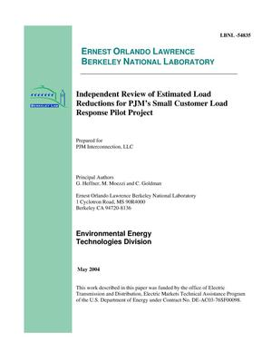 Primary view of object titled 'Independent review of estimated load reductions for PJM's small customer load response pilot project'.